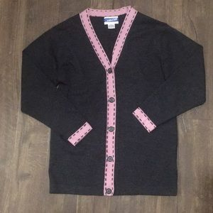 S charcoal and lavender Pendleton cardigan